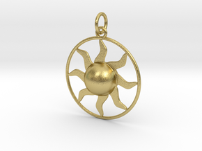 Sun Pendant in Natural Brass (Interlocking Parts)