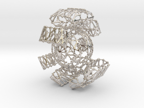 Fantasy Sphere in Twisted brackets in Rhodium Plated Brass
