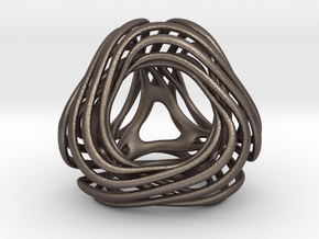 Looped Tetrahedron colored in Polished Bronzed-Silver Steel