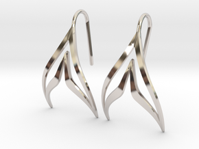 sWINGS Sharp Earrings in Rhodium Plated Brass