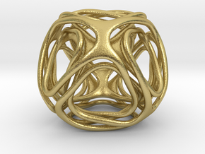 Twisted looped Octahedron  in Natural Brass