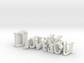 3dWordFlip: ILoveYou/Melissa in White Natural Versatile Plastic
