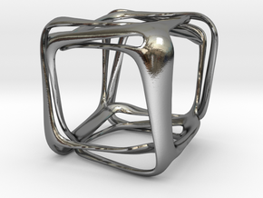 Twisted Looped Cube in Polished Silver (Interlocking Parts)