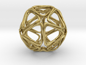 Icosahedron Looped  in Natural Brass