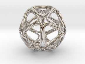 Icosahedron Looped  in Rhodium Plated Brass