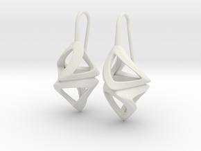 Trianon Twist, Earrings in White Premium Versatile Plastic