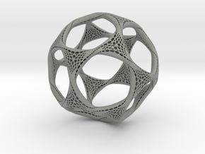 Perforated Twisted Dodecahedron in Gray Professional Plastic