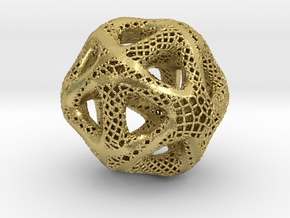 Perforated Twisted Icosahedron Type 2 in Natural Brass