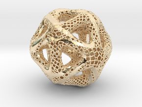Perforated Twisted Icosahedron Type 2 in 14K Yellow Gold