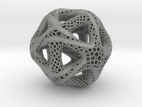 Perforated Twisted Icosahedron Type 2 in Gray Professional Plastic