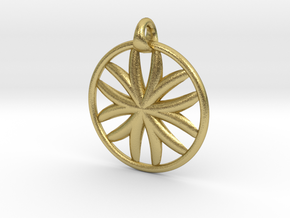 Flower of Life pendant type 1 in Natural Brass