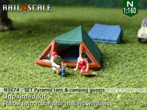 SET Pyramid tent with camping guests (N 1:160) in Smoothest Fine Detail Plastic
