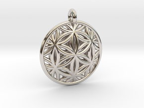 Flower of Life Pendant Type 2 in Rhodium Plated Brass