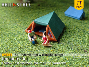 SET Pyramid tent with camping guests (TT 1:120) in Smooth Fine Detail Plastic