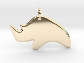 Minimalist Rhino Pendant in 14k Gold Plated Brass