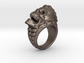 skull-ring-size 6.5 in Polished Bronzed-Silver Steel