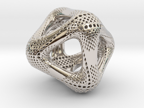 Perforated Octahedron in Rhodium Plated Brass