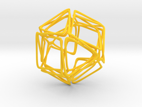 Looped Twisted Cuboctahedron in Yellow Processed Versatile Plastic