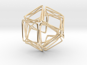 Looped Twisted Cuboctahedron in 14k Gold Plated Brass