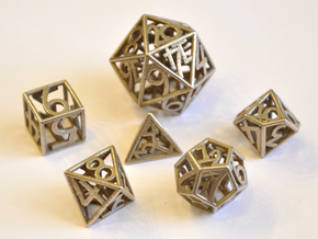 Numbers Only Dice Set - Balanced in Polished Bronzed Silver Steel
