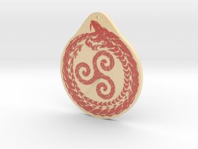 Serpent Triskelion pendant  white red in Glossy Full Color Sandstone