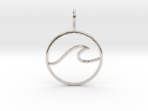 Wave Pendant in Rhodium Plated Brass