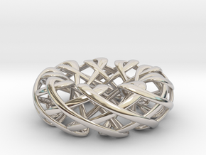 Counter rotating Torus with Celtic knots in Rhodium Plated Brass