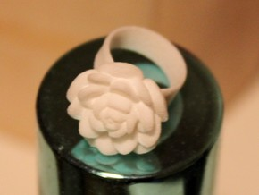 Tiny Rose Ring / Thimble (Fits My Finger tip) in White Strong & Flexible