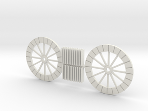 HO Scale Water Wheel kit in White Natural Versatile Plastic