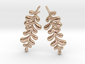 Leaf01 Earrings large in 14k Rose Gold Plated Brass