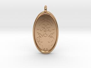 Celtic Stag deer Pendant in Polished Bronze