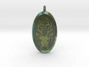 Celtic Stag deer Pendant  in Glossy Full Color Sandstone