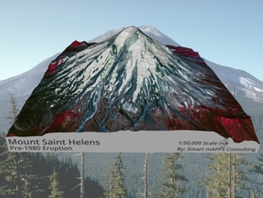 "Mount St. Helens (Pre-1980) False Color: 6""x6"" in Matte Full Color Sandstone"