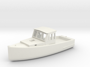 S Scale Fishing Boat in White Natural Versatile Plastic