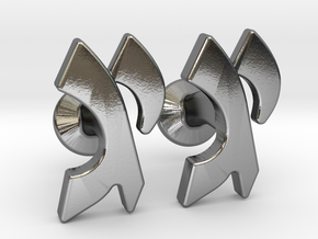 "Hebrew Monogram Cufflinks - ""Yud Gimmel"" in Polished Silver"