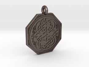 Celtic Serpent Octagonal Pendant in Polished Bronzed-Silver Steel