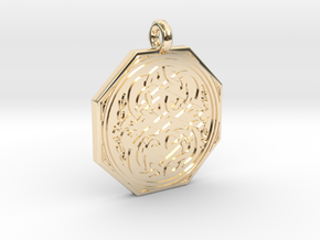 Celtic Serpent Octagonal Pendant in 14K Yellow Gold