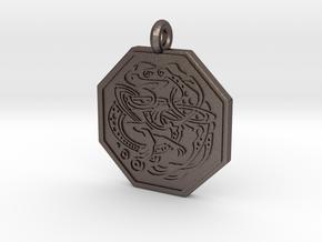 Celtic Dog Octagon Pendant in Polished Bronzed-Silver Steel