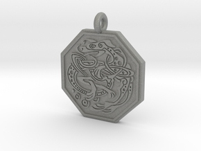 Celtic Dog Octagon Pendant in Gray PA12