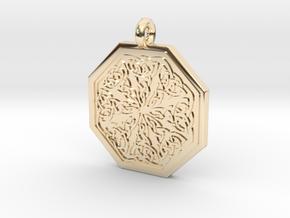 Celtic Spiritual Journey Octagonal Pendant in 14k Gold Plated Brass