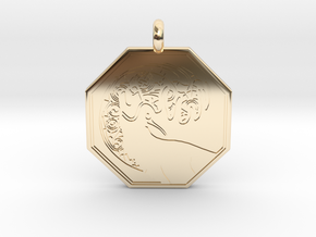 Stag - The Horned God Octagon Pendant in 14k Gold Plated Brass