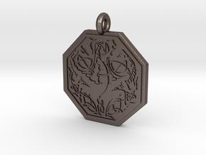 Dragon Octagonal Celtic Pendant in Polished Bronzed-Silver Steel