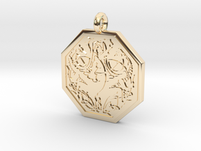 Dragon Octagonal Celtic Pendant in 14K Yellow Gold