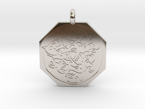 Cat Celtic Octagonal Pendant in Platinum