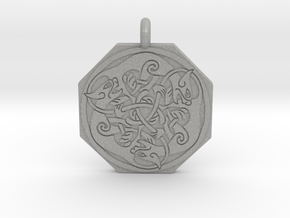 Cat Celtic Octagonal Pendant in Aluminum