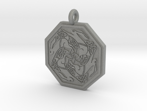 Hare Celtic  Octagon Pendant  in Gray PA12