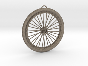 Bicycle Wheel Pendant Big in Matte Bronzed-Silver Steel