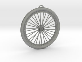 Bicycle Wheel Pendant Big in Gray PA12