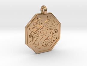 Cat Celtic Octogon Pendant in Polished Bronze