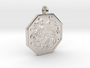 Cat Celtic Octogon Pendant in Platinum